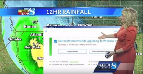 Aviso de atualização para o Windows 10 aparece ao vivo no meio da previsão do tempo